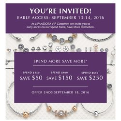 """Spend More Save More"" PANDORA Promotion! VIP Access starts Sept 13th"