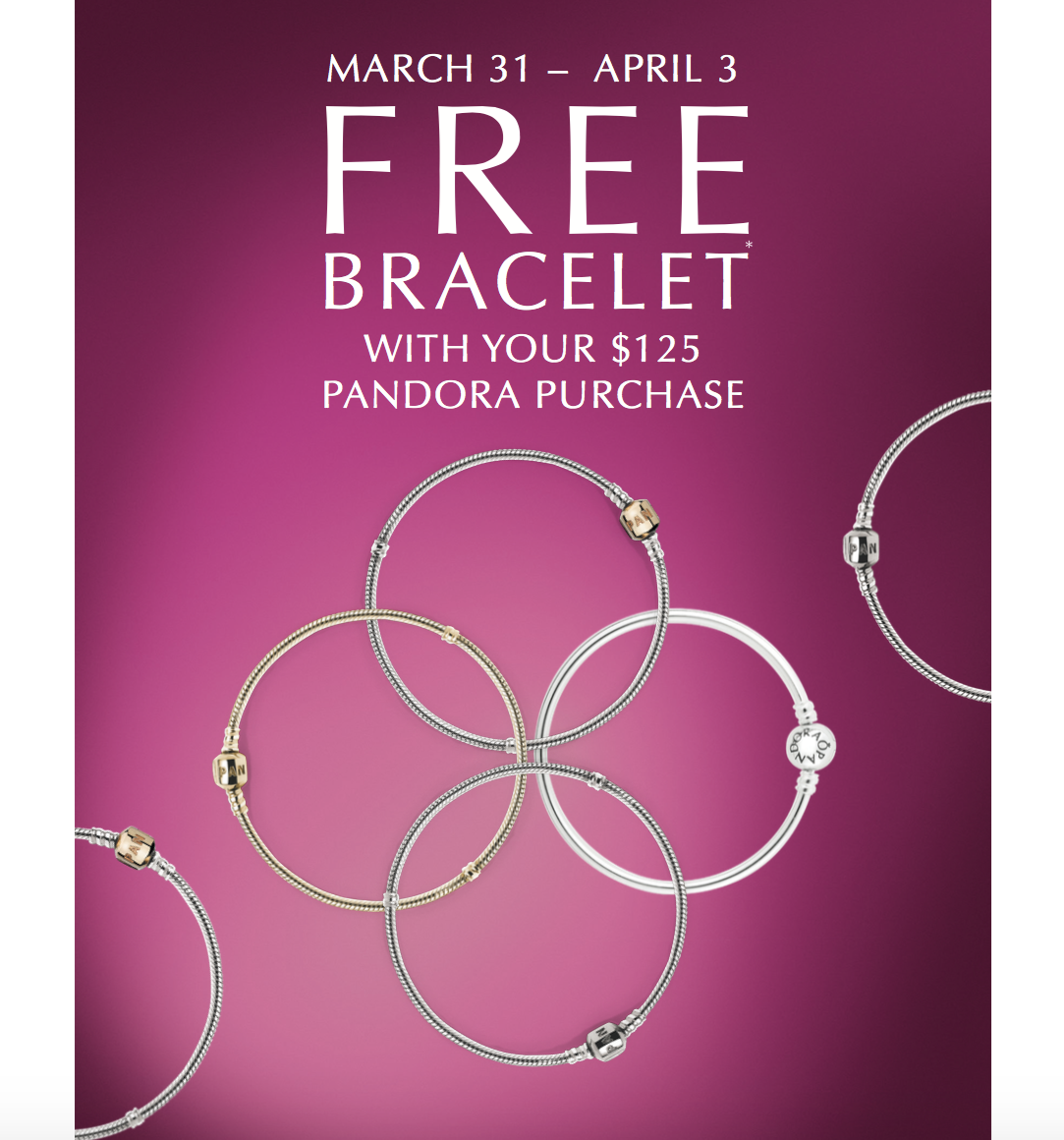 when is the next pandora free bracelet event rodan jewellers pandora free bracelet event march 31st 5296