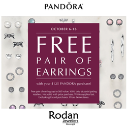 Free Pair of PANDORA Earrings!