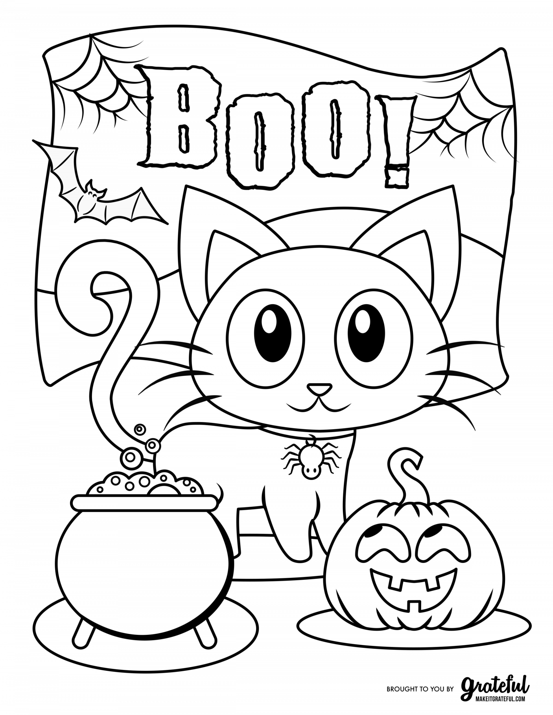 BOO Halloween Cat Coloring Page