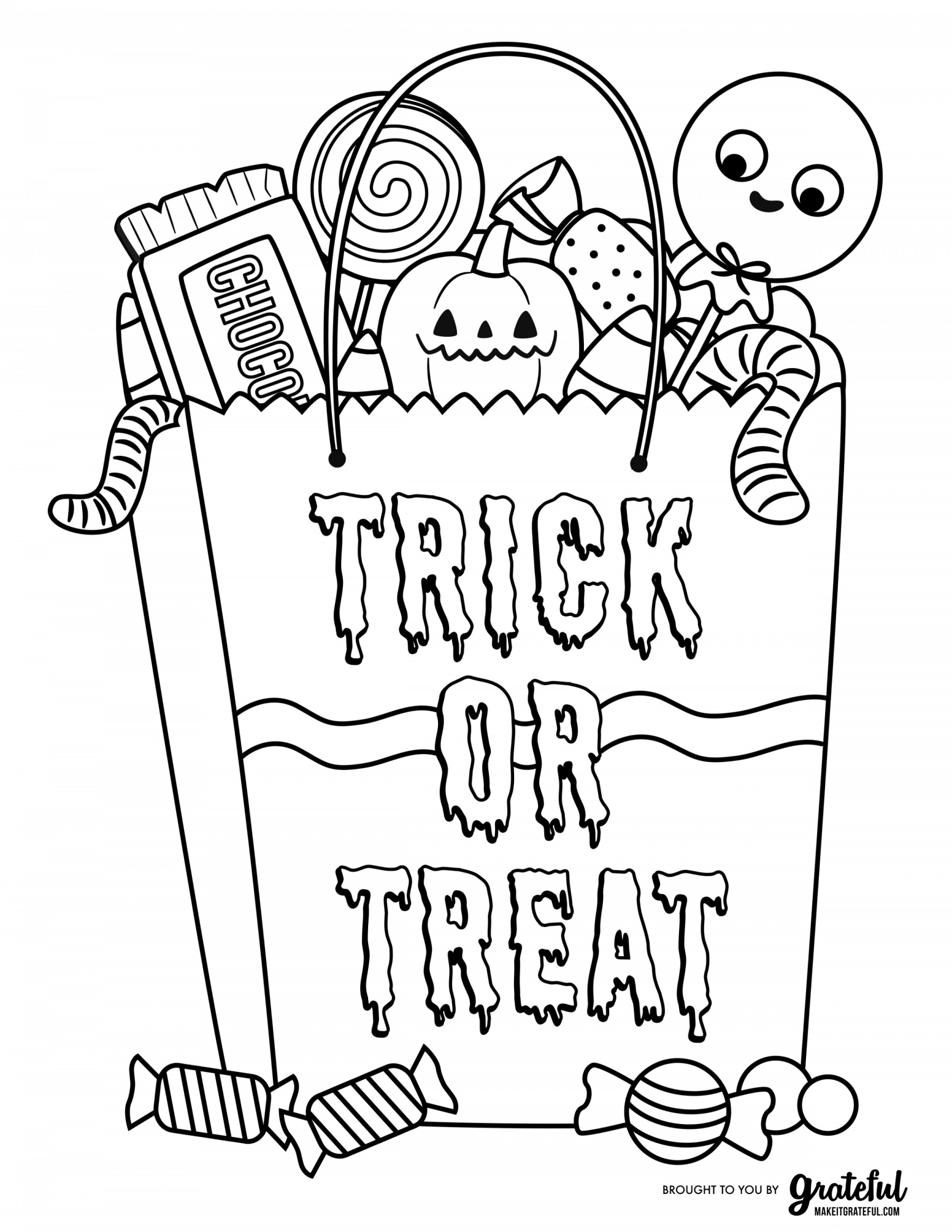Halloween Candy Bag With Treats Coloring Page