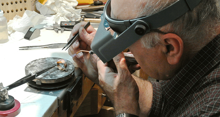 Jewelry Repair Specialist Working on a Custom Ring